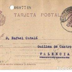 Sellos: TARJETA POSTAL ALFONSO XIII. VAQUER 15CS BARCELONA 1927. Lote 287311308