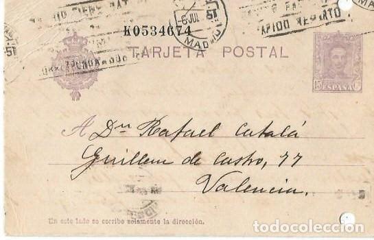 TARJETA POSTAL ALFONSO XIII. VAQUER 15CS MADRID 1927 (Sellos - España - Alfonso XIII de 1.886 a 1.931 - Cartas)