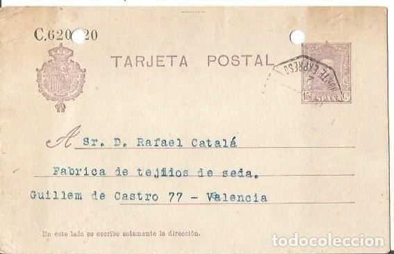 TARJETA POSTAL ALFONSO XIII. VAQUER 15CS VITORIA AMBULANTE 1926 (Sellos - España - Alfonso XIII de 1.886 a 1.931 - Cartas)