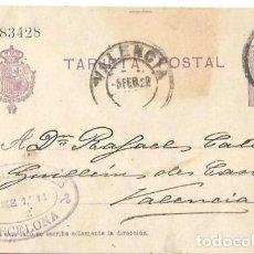 Sellos: TARJETA POSTAL ALFONSO XIII. MEDALLÓN 15CS BARCELONA FEB1922. Lote 287317558