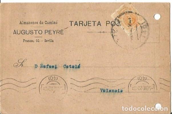 TARJETA POSTAL ALFONSO XIII. MEDALLÓN 15CS SEVILLA ENE1922. AUGUSTO PEYRÉ. (Sellos - España - Alfonso XIII de 1.886 a 1.931 - Cartas)
