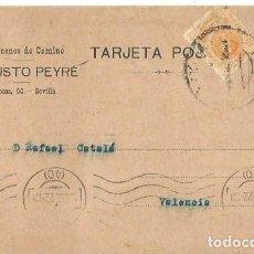 Sellos: TARJETA POSTAL ALFONSO XIII. MEDALLÓN 15CS SEVILLA ENE1922. AUGUSTO PEYRÉ.. Lote 287318723
