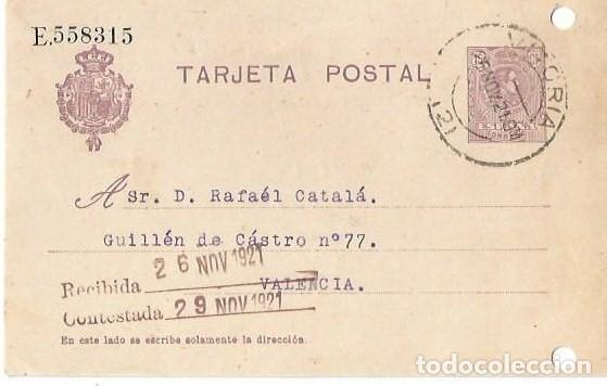TARJETA POSTAL ALFONSO XIII. MEDALLÓN 15CS VITORIA NOV1921 (Sellos - España - Alfonso XIII de 1.886 a 1.931 - Cartas)