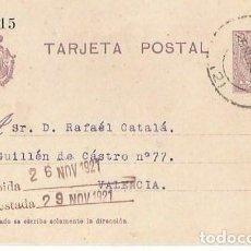 Sellos: TARJETA POSTAL ALFONSO XIII. MEDALLÓN 15CS VITORIA NOV1921. Lote 287318818