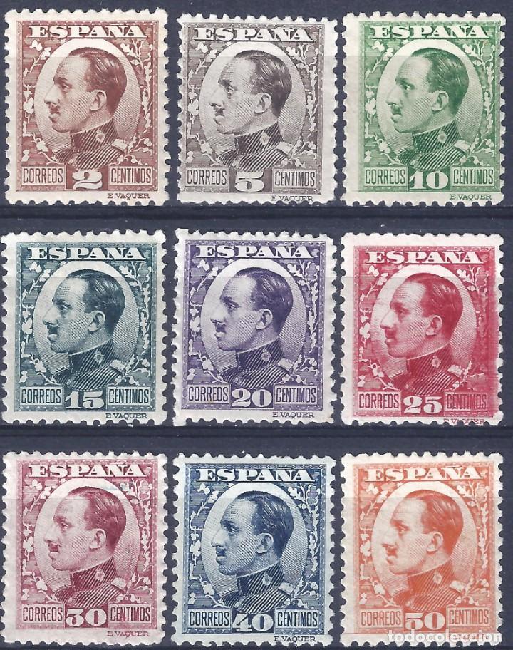 EDIFIL 490-498 ALFONSO XIII. TIPO VAQUER DE PERFIL (SERIE COMPLETA). VALOR CATÁLOGO: 157 €. MH * (Sellos - España - Alfonso XIII de 1.886 a 1.931 - Nuevos)