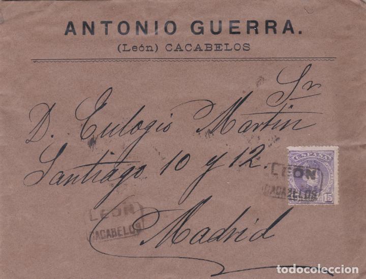 CARTA CON SELLO 246 CON MATASELLO CARTERIA TIPO II DE CACABELOS (LEON) EN NEGRO (Sellos - España - Alfonso XIII de 1.886 a 1.931 - Cartas)