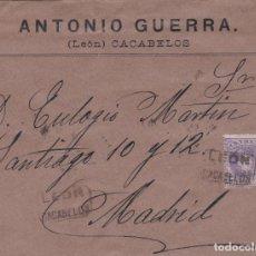 Sellos: CARTA CON SELLO 246 CON MATASELLO CARTERIA TIPO II DE CACABELOS (LEON) EN NEGRO. Lote 288687688