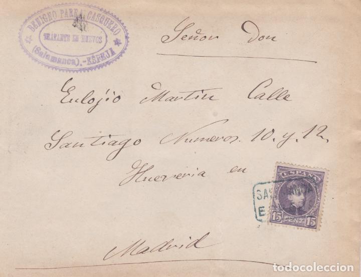 CARTA CON SELLO 245 CON MATASELLO CARTERIA TIPO II DE ESPEJA ( SALAMANCA ) EN NEGRO (Sellos - España - Alfonso XIII de 1.886 a 1.931 - Cartas)