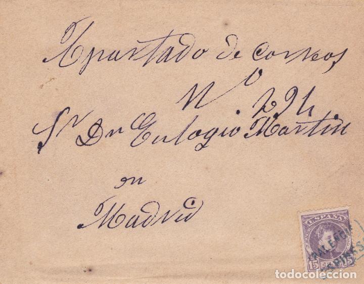 CARTA CON SELLO 245 CON MATASELLO CARTERIA TIPO II DE ESPINOSA ( PALENCIA ) EN NEGRO (Sellos - España - Alfonso XIII de 1.886 a 1.931 - Cartas)