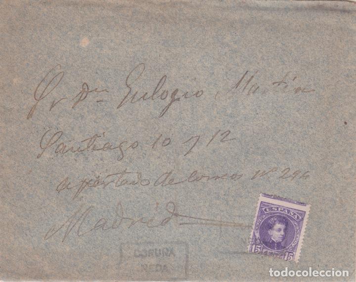 CARTA CON SELLO 245 CON MATASELLO CARTERIA PARTICULAR TIPO I DE NEDA ( CORUÑA ) EN NEGRO (Sellos - España - Alfonso XIII de 1.886 a 1.931 - Cartas)
