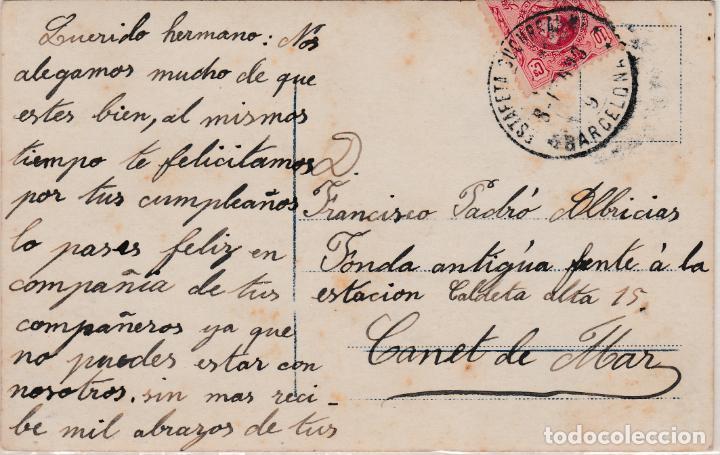 TARJETA DE BARCELONA A CANET DE MAR CON SELLO 269 MATASELLO FECHADOR (Sellos - España - Alfonso XIII de 1.886 a 1.931 - Cartas)