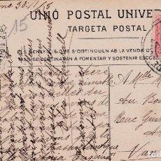 Sellos: TARJETA DE BARCELONA A FRANCIA CON SELLO 269 MATASELLO FECHADOR (VER DESCRIPCION COMPLETA). Lote 288693853