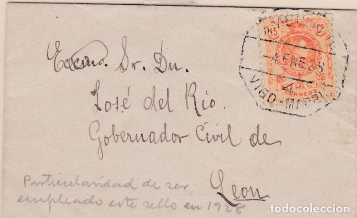 CARTA DIRIGIDA A LEON CON SELLO 271 MATASELLO AMBULANTE VIGO - MADRID EN 1928 (Sellos - España - Alfonso XIII de 1.886 a 1.931 - Cartas)