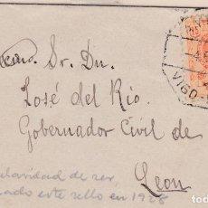 Sellos: CARTA DIRIGIDA A LEON CON SELLO 271 MATASELLO AMBULANTE VIGO - MADRID EN 1928. Lote 288695348