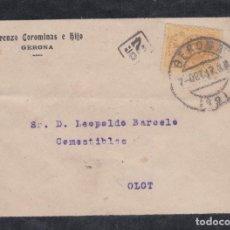 Sellos: CARTA DE GERONA A OLOT CON SELLO 217 MATASELLO FECHADOR Y MARCA DE REPARTO DEL CARTERO.. Lote 288696243