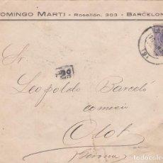 Sellos: CARTA DE BARCELONA A OLOT CON SELLO 270 MATASELLO FECHADOR Y MARCA DE REPARTO DEL CARTERO.. Lote 288696623