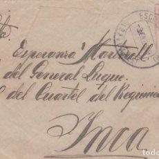 Sellos: CARTA DE ESCORCA ( LLUCH ) A INCA CON SELLO 317 Y MATASELLO FECHADOR ESCORCA BALEARES. Lote 288697563