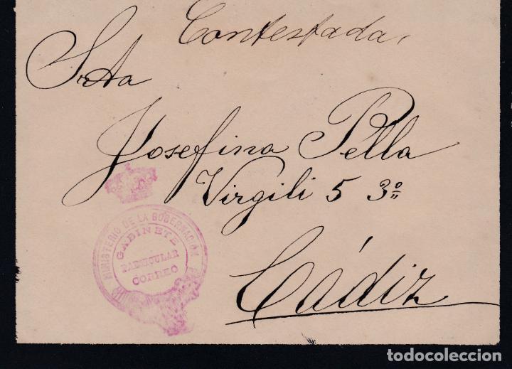 CARTA DE MADRID A CADIZ CON MARCA DE LA SECRETARIA PARTICULAR DEL MINISTERIO DE LA GOBERNACION (Sellos - España - Alfonso XIII de 1.886 a 1.931 - Cartas)