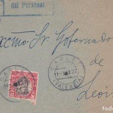 Sellos: FRONTAL DE CARLET CON MARCA DE FRANQUICIA DE PERSONAL Y HUERFANOS Nº 1 MATASELLO FECHADOR. Lote 288699303