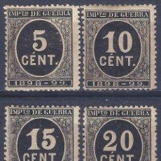 Sellos: EDIFIL 236-239 CIFRAS 1898-1899. SELLOS DE IMPUESTO DE GUERRA. VALOR CATÁLOGO: 102 €. LUJO. MH *. Lote 288988623