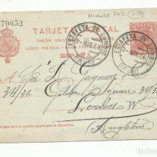 Sellos: ENTERO POSTAL EDIFIL 47 CIRCULADA 1906 DE IRUN A LONDON. Lote 289590983