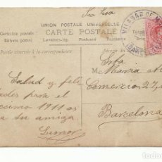 Sellos: POSTAL CIRCULADA 1911 DE VILASAR DE MAR A BARCELONA. Lote 289592388
