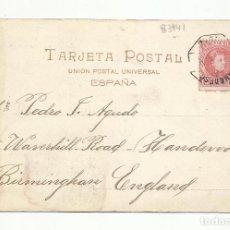 Sellos: POSTAL CIRCULADA 1904 DE CADIZ A BIRMINGHAN ENGLAND AMBULANTE DESCENDENTE CADIZ. Lote 289592643