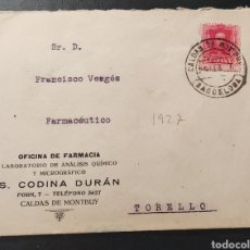 Sellos: ESPAÑA CARTA SELLO ALFONSO CALDAS DE MONTBUI CONTESTADA 1927. Lote 289888038