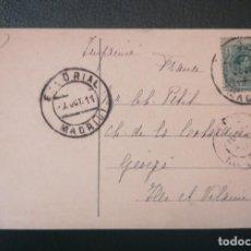 Sellos: POSTAL ENVIADA ESCORIAL - MADRID A GEVEZE -FRANCIA . ALFONSO XIII 1911. Lote 291940908