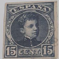 Sellos: 15 CENTIMOS SIN DENTAR DE ALFONSO 13, LIGERO MATASELLO. Lote 293314653
