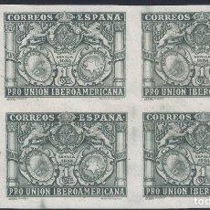 Sellos: EDIFIL 566S PRO UNIÓN IBEROAMERICANA 1930 (BLOQUE DE 4). SIN DENTAR. V. CAT. ESPEC.: 18 €. MNH **. Lote 295579823