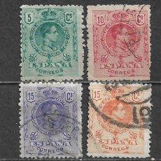 Francobolli: ESPAÑA 1909 EDIFIL 268 + 269 + 270 + 271 USADO - 5/28. Lote 295934248