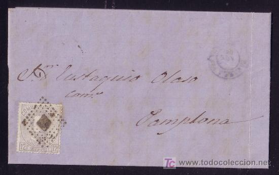ESPAÑA. (CAT. 122). 1872. CARTA DE TAFALLA A PAMPLONA. 12 CTS. AMADEO. FECHADOR AZUL. BONITA. (Sellos - España - Amadeo I y Primera República (1.870 a 1.874) - Cartas)