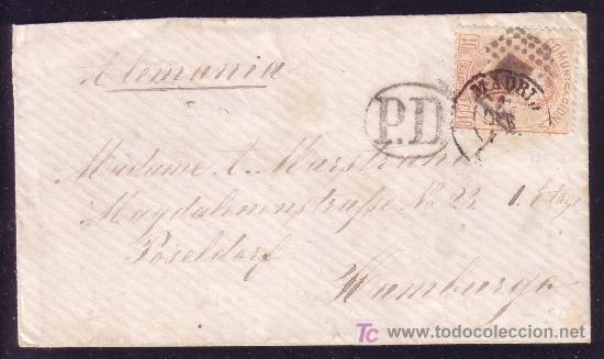ESPAÑA.(CAT.125).1873.SOBRE DE MADRID A HAMBURGO (ALEMANIA).40 C.AMADEO. MUY RARO DESTINO.MAGNÍFICA. (Sellos - España - Amadeo I y Primera República (1.870 a 1.874) - Cartas)