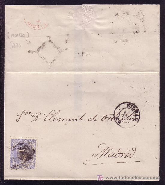 ESPAÑA. (CAT. 107). 1870. CARTA DE BILBAO A MADRID. 50 MLS. DORSO * ARAÑA * FECHADOR ROJO. RARA. (Sellos - España - Amadeo I y Primera República (1.870 a 1.874) - Cartas)