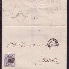 Sellos: ESPAÑA. (CAT. 107). 1870. CARTA DE BILBAO A MADRID. 50 MLS. DORSO * ARAÑA * FECHADOR ROJO. RARA.. Lote 25040726