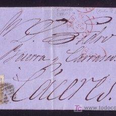 Sellos: ESPAÑA.(CAT.107).1870.CARTA DE MADRID A CÁCERES.50 MLS.MAT.PARRILLA.FECHADOR ROJO MADRID.BONITA.RARA. Lote 25598622