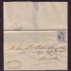 Sellos: ESPAÑA.(CAT.107).1871. CARTA DE SAN SEBASTIAN A SEVILLA. 50 MLS. MAT. R. DE PUNTOS. LLEGADA. BONITA.. Lote 23838533
