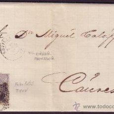 Sellos: ESPAÑA. (CAT. 107/GRAUS 139-V).1871.CARTA DE SEVILLA A CÁCERES.50 MLS.FALSO POSTAL TIPO V. MUY RARA.. Lote 25472634