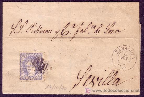 CARTA DE ZARAGOZA A SEVILLA, FRANQUEADA CON EL SELLO Nº 107 (Sellos - España - Amadeo I y Primera República (1.870 a 1.874) - Cartas)