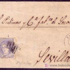Sellos: CARTA DE ZARAGOZA A SEVILLA, FRANQUEADA CON EL SELLO Nº 107. Lote 12938066