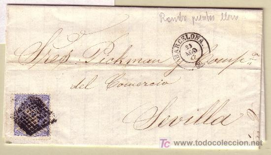 CARTA DE BARCELONA A SEVILLA, FRANQUEADA CON EL SELLO Nº 107 (Sellos - España - Amadeo I y Primera República (1.870 a 1.874) - Cartas)