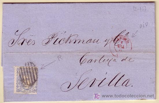 CARTA DE MADRID A SEVILLA, FRANQUEADA CON EL SELLO Nº 107 (Sellos - España - Amadeo I y Primera República (1.870 a 1.874) - Cartas)