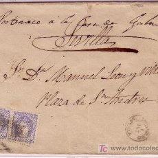 Sellos - Carta de Lora del Rio a Sevilla, franqueada con pareja del sello nº 107 - 12938423