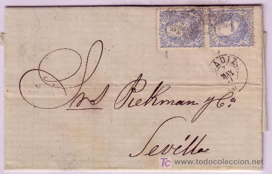 CARTA DE CADIZ A SEVILLA, FRANQUEADA CON PAREJA DEL SELLO Nº 107 (Sellos - España - Amadeo I y Primera República (1.870 a 1.874) - Cartas)