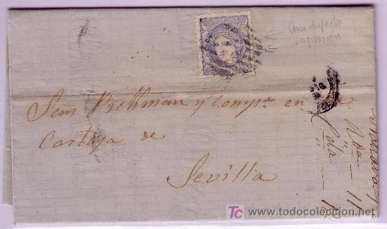 CARTA DE GRANADA A SEVILLA, FRANQUEADA CON SELLO Nº 107 CON GRAN DEFECTO DE IMPRESIÓN. (Sellos - España - Amadeo I y Primera República (1.870 a 1.874) - Cartas)
