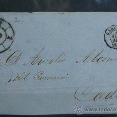 Sellos: ESPAÑA (1859) CARTA POSTAL CIRCULADA DE BARCELONA A CADIZ . Lote 26428624