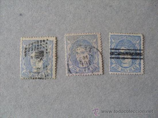 ESPAÑA,1870,ALEGORIA DE ESPAÑA,EDIFIL 107,CONJUNTO DE MATASELLOS (Sellos - España - Amadeo I y Primera República (1.870 a 1.874) - Usados)