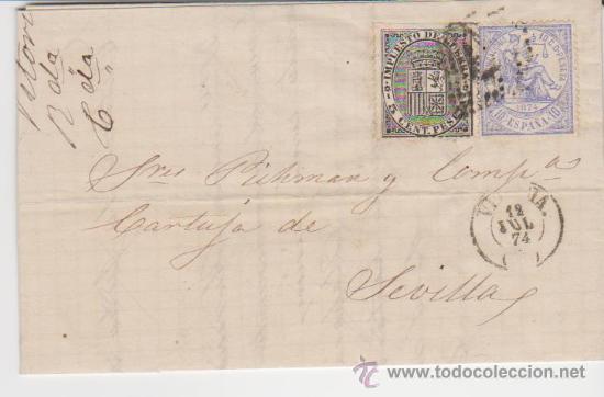 CARTA DE VITORIA A SEVILLA. DE 12 DE JULIO DE 1874. FRANQUEADO CON SELLOS 141 Y 145, MATASELLO DE - (Sellos - España - Amadeo I y Primera República (1.870 a 1.874) - Cartas)