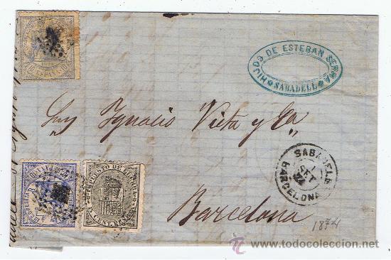 CIRCULADO 1874 DE SABADELL A BARCELONA CON EDIFIL 145-DOS 141 ESCRITO ALTO VALOR CATALOGO (Sellos - España - Amadeo I y Primera República (1.870 a 1.874) - Cartas)
